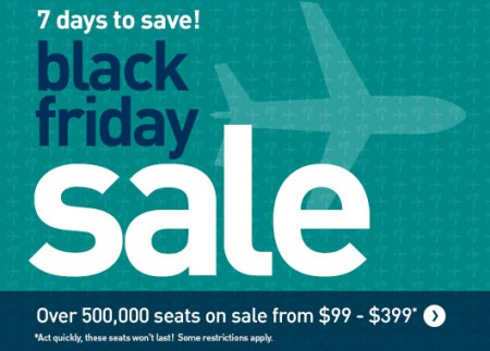 Westjet black friday sale 7 days to save nov 24 30 for Las vegas hotels black friday deals