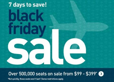 WestJet Black Friday Sale - 7 Days to Save (Nov 24-30)