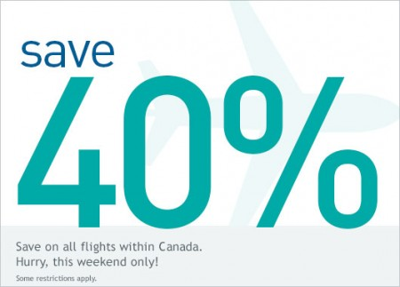 WestJet Promo Code - 40 Off All Flights within Canada (Book by Nov 15)