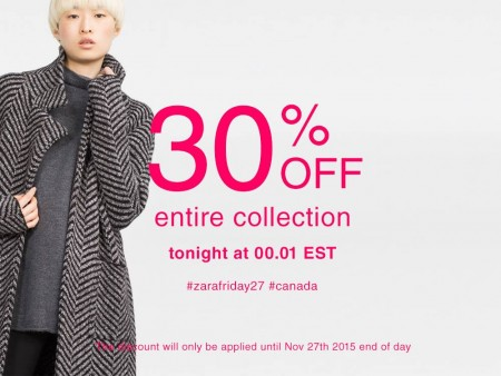 picture relating to Zara Printable Coupons identified as ZARA: Black Friday Sale 30% Off Total Choice (Nov 27