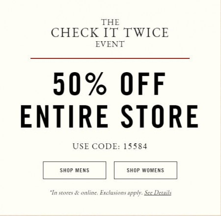 Abercrombie & Fitch 50 Off Entire Store and Online (Dec 18-22)