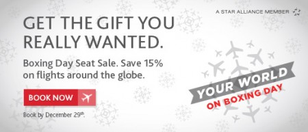 Air Canada Boxing Day Seat Sale - Save 15 Off on Flights Worldwide (Dec 26-29)