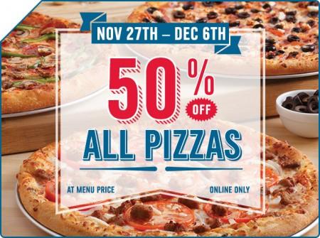 Domino's Pizza 50 Off All Pizzas (Until Dec 6)