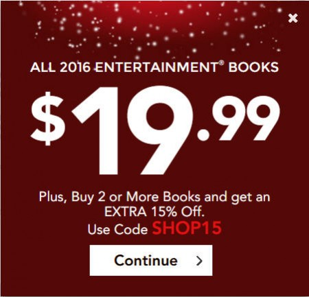 Entertainment Book All 2016 Coupon Books only $19.99 + Free Shipping (Up to 60 Off)