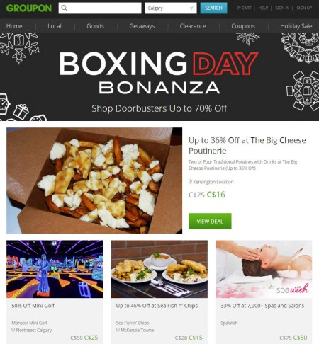 GROUPON Boxing Day Bonanza - Shop Doorbusters up to 70 Off (Dec 26)