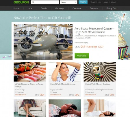GROUPON Gift Yourself Sale - Markdowns up to 70 Off Select Restaurants, Spas, and Things to Do (Dec 27)