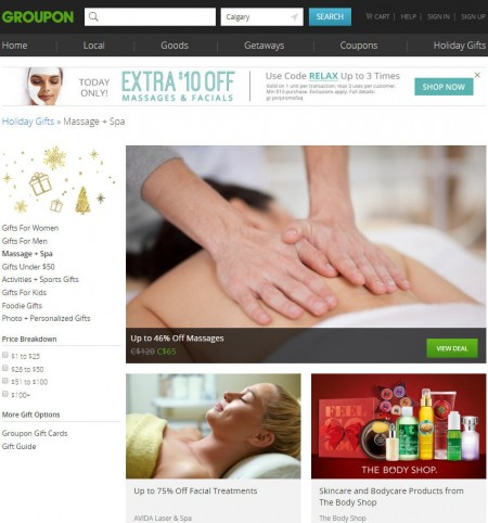 GROUPON Today Only - Extra $10 Off Massages and Facials Promo Code (Dec 21)