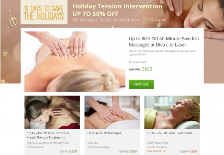 GROUPON Today Only - Up to 50 Off Massages, Facials, Saunas & More Deals (Dec 14)