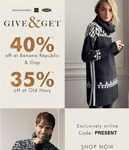 Gap & Banana Republic Cyber Monday is Back - 40 Off Your Purchase; and 35 Off at Old Navy (Dec 7-8)