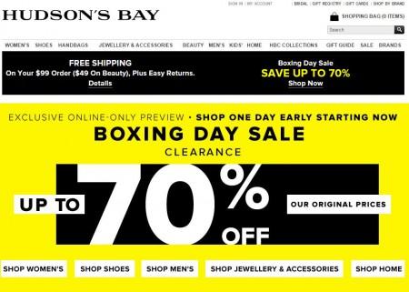 Hudson's Bay Boxing Day Starts Early at TheBay.com (Dec 25-26)