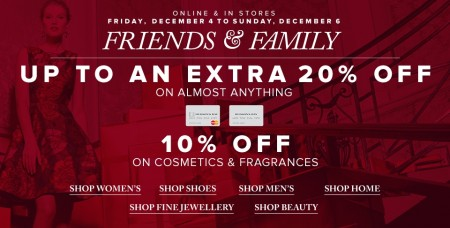 Hudson's Bay Friends & Family Sale - Extra 15-20 Off Almost Anything (Dec 4-6)