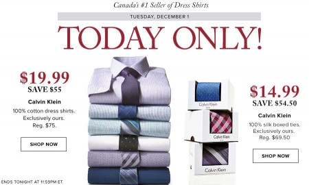 Hudson's Bay One Day Sales - $19.99 for Calvin Klein Dress Shirts - Save 73 Off (Dec 1)