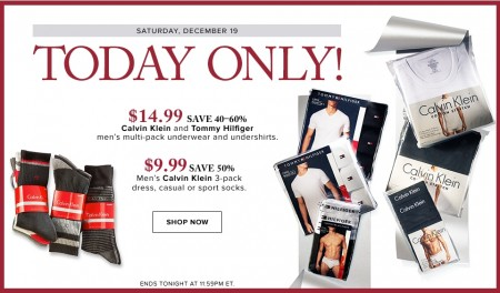 Hudson's Bay Today Only - $14.99 for Calvin Klein and Tommy Hilfiger Multi-Pack Underwear and Undershirts - Save 40-60 Off (Dec 19)