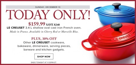 Hudson's Bay Today Only - $159 for Le Creuset Cast Iron French Oven - Save $240 (Dec 13)