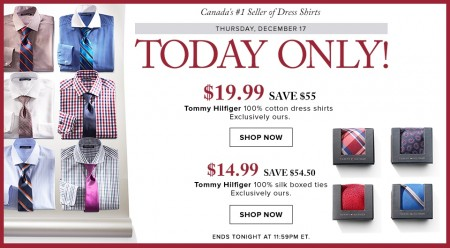 Hudson's Bay Today Only - $19.99 for Tommy Hilfiger Dress Shirts - Save 73 Off (Dec 17)