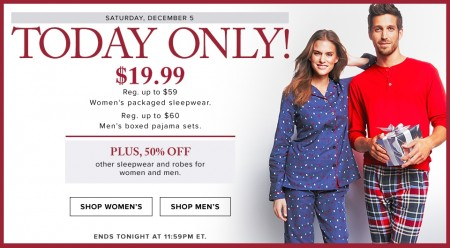 Hudson's Bay Today Only - $19.99 for Women's Packaged Sleepwear or Men's Pajama Sets - Up to 60 Off (Dec 5)