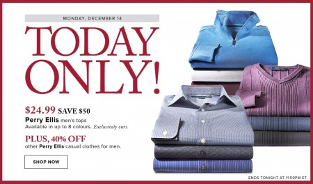Hudson's Bay Today Only - $24.99 for Perry Ellis Men's Tops -Save 67 Off (Dec 14)