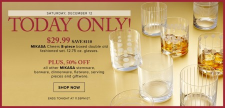 Hudson's Bay Today Only - $29.99 for Mikasa Cheers 8-Piece Glass Set - Save 79 Off (Dec 12)