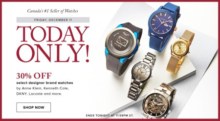 Hudson's Bay Today Only - 30 Off Designer Brand Watches (Dec 11)