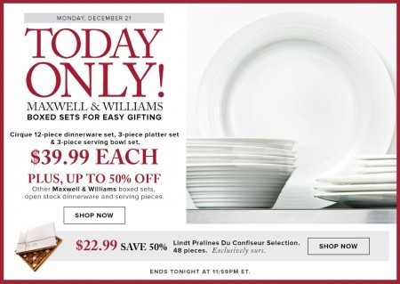 Hudson's Bay Today Only - $39.99 for Maxwell & Williams Dinnerware Boxed Sets (Dec 21)