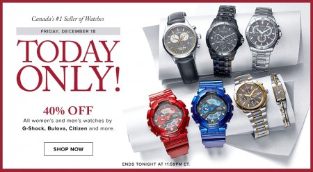 Hudson's Bay Today Only - 40 Off Watches (Dec 18)