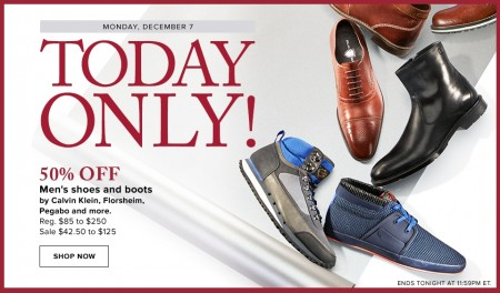 Hudson's Bay Today Only - 50 Off Men's Shoes and Boots (Dec 7)