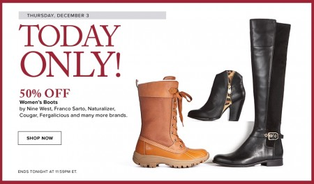 Hudson's Bay Today Only - 50 Off Women's Boots (Dec 3)