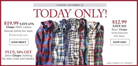 Hudson's Bay Today Only - 65 Off Chaps Cotton Flannel Shirts for Men (Dec 22)