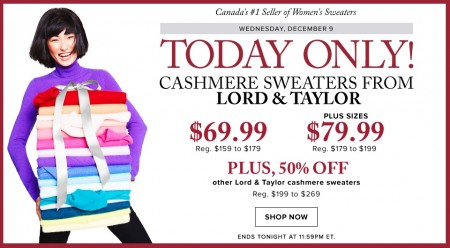 Hudson's Bay Today Only - $69.99 for Cashmere Sweaters by Lord & Taylor - Up to 61 Off (Dec 9)