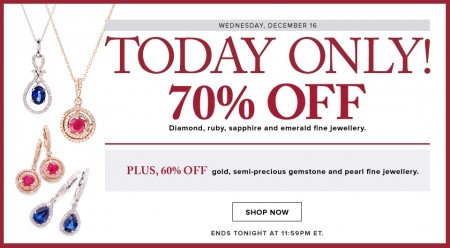 Hudson's Bay Today Only - 70 Off Diamond, Ruby, Sapphire and Emerald Fine Jewellery (Dec 16)