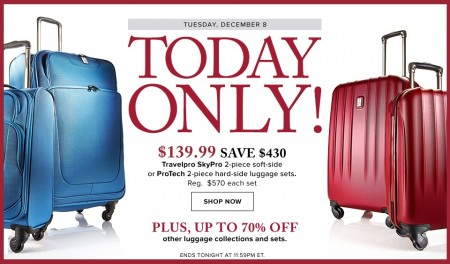 Hudson's Bay Today Only - 75 Off Travelpro 2-Piece Luggage Sets (Dec 8)