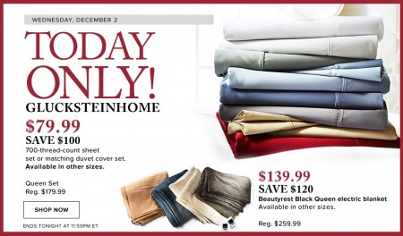 Hudson's Bay Today Only - $79.99 for GlucksteinHome Sheet Set - Save $100 (Dec 2)
