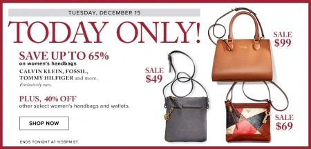 Hudson's Bay Today Only - Save up to 65 Off Women's Handbags (Dec 15)
