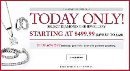 Hudson's Bay Today Only - Starting at $499.99 for Select Diamond Fine Jewellery - Save up to $3200 (Dec 10)