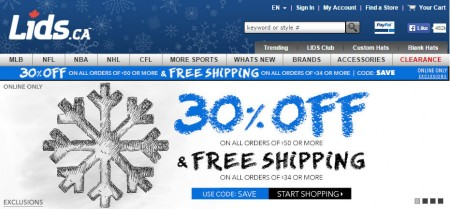 Lids.ca 30 Off Sitewide Promo Code + Free Shipping (Dec 6-8)