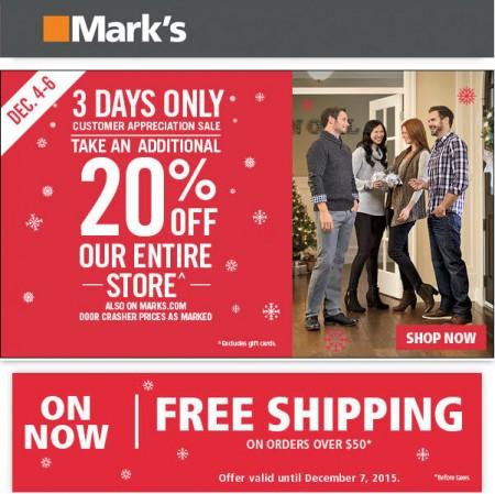 Mark's Customer Appreciation Sale - 20 Off Entire Store (Dec 4-6)