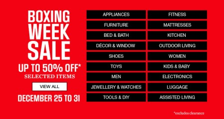 Sears Boxing Week Sale - Up to 50% Off Selected Items (Dec 25-31)
