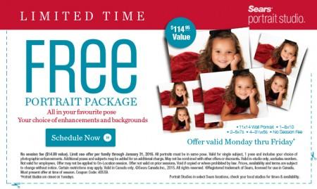 Sears Portrait Studio FREE Portrait Package Coupon - $115 Value (Until Jan 31)