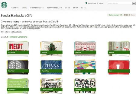 Starbucks Free $5 eGift Card when you Buy $15 eGift Card with MasterCard (Dec 17-31)
