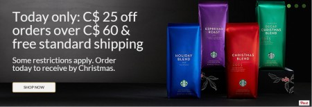 Starbucks Store Today Only - $25 Off Orders Over $60 + Free Shipping (Dec 10)