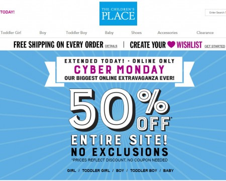 The Children's Place Cyber Monday Extended - 50 Off Entire Site + Free Shipping (Dec 1)