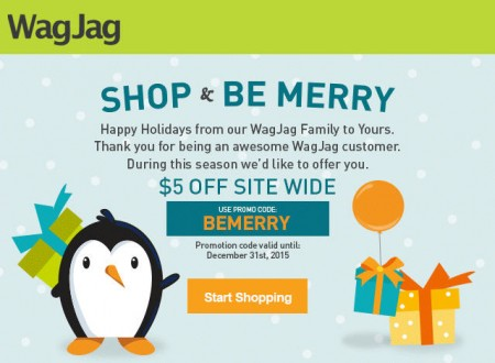 WagJag Extra $5 Off Site Wide Promo Code (Dec 28-31)