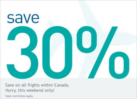 WestJet Save 30 Of All Flights within Canada (Book by Dec 6)