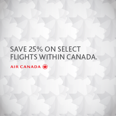 Air Canada Save 25 on select Flights within Canada (Book by Jan 22)