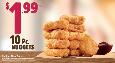 Burger King $1.99 for 10 Piece Chicken Nuggets