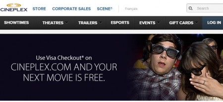 Cineplex Free Movie with VISA Checkout A