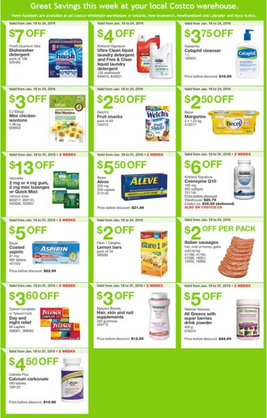 Costco Weekly Handout Instant Savings Coupons East (Jan 18-24)