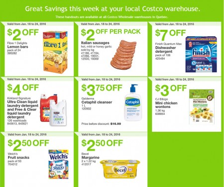 Costco Weekly Handout Instant Savings Coupons Quebec (Jan 18-24)
