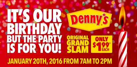 Denny's Original Grand Slam for only $1.99 (Jan 20, 7am-2pm)