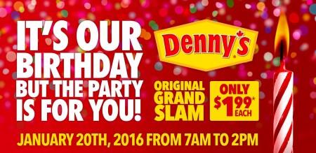 Denny's Original Grand Slam for only $1.99 (Jan 20, 7am-2pm)